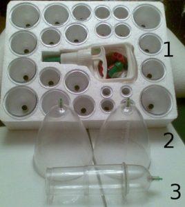 Рис. 2 Комплект из 24 вакуумных банок с механическим насосом (1), вакуумные банки для груди (2) и помпа для полового члена (3)