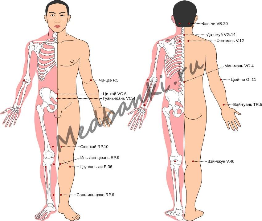 Схема выбора точек при лечении простуды