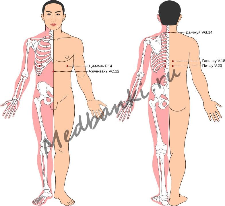 Схема выбора точек при хроническом гастрите